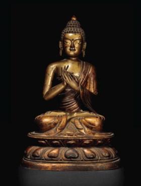 清十八世紀 銅漆金佛坐像