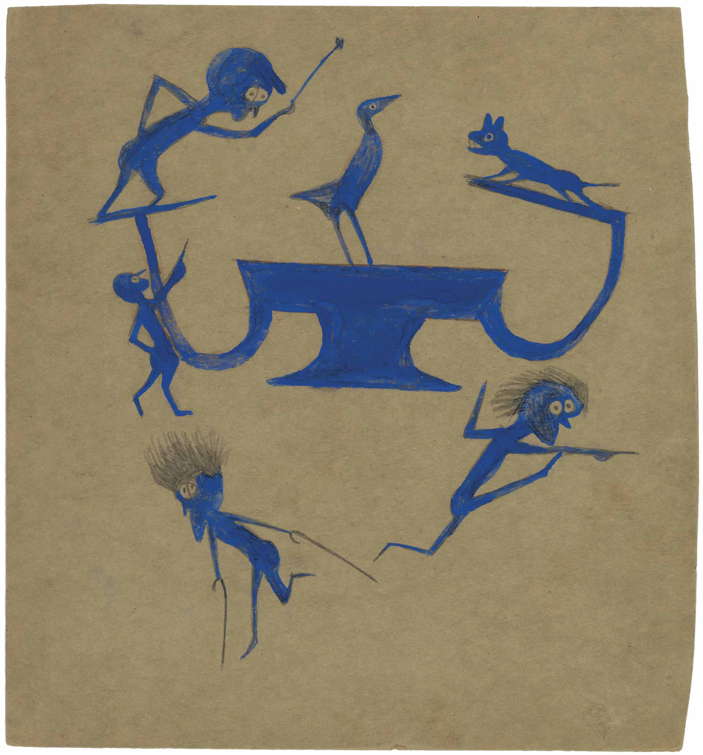 Exciting Event in Blue: Four Wild Men, Barking Dog, Perched Bird and Construction, 1939-1942