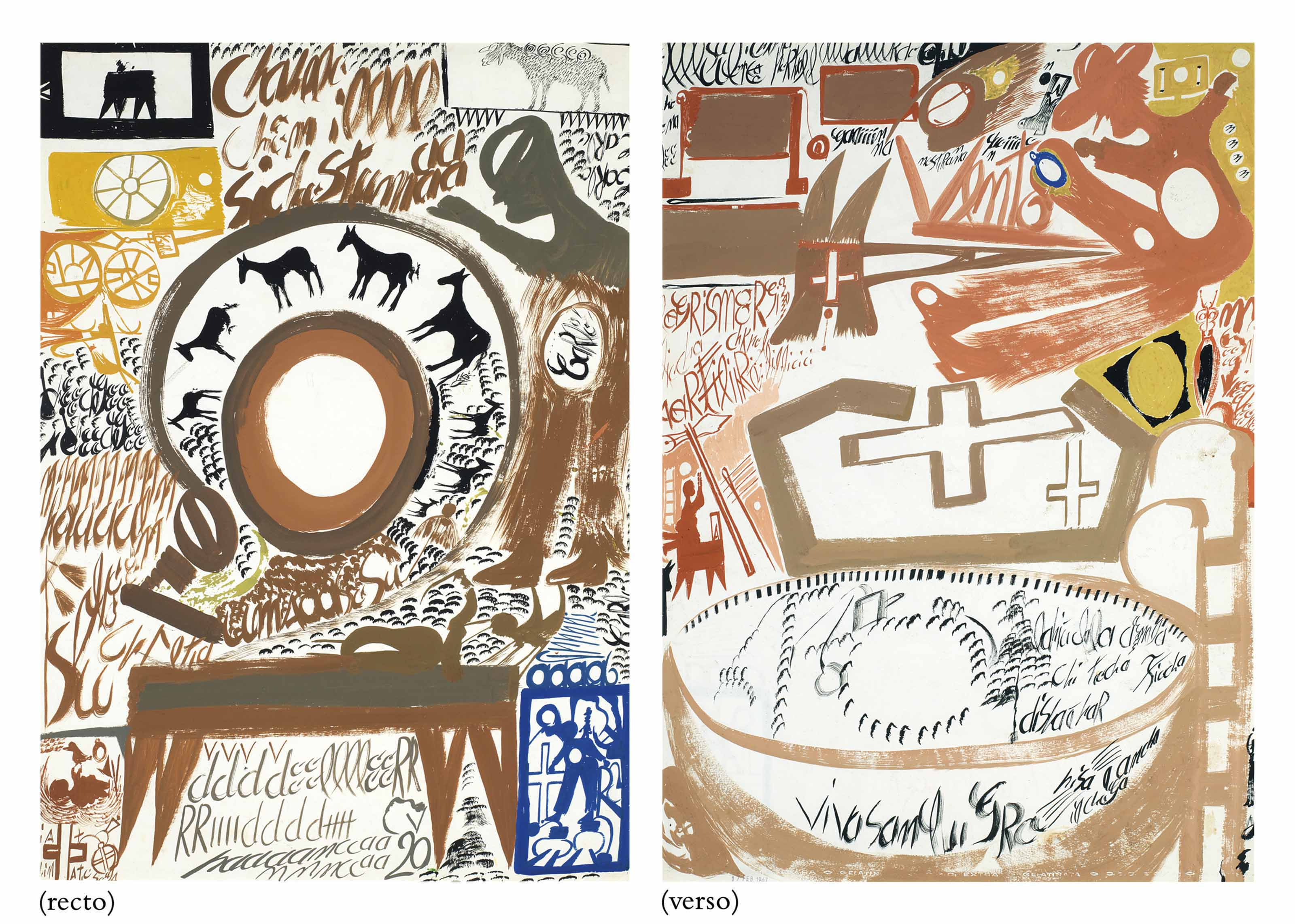 Brown Circle with Horses / Pink Figure with Crosses, double sided, 1967