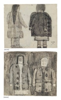 Untitled (Backs of Two Girls / Two Abstracted Figures in Coats), double sided