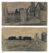 Untitled (Dark Farmscape with Abstracted Elements / Landscape with Abstracted Building), double sided
