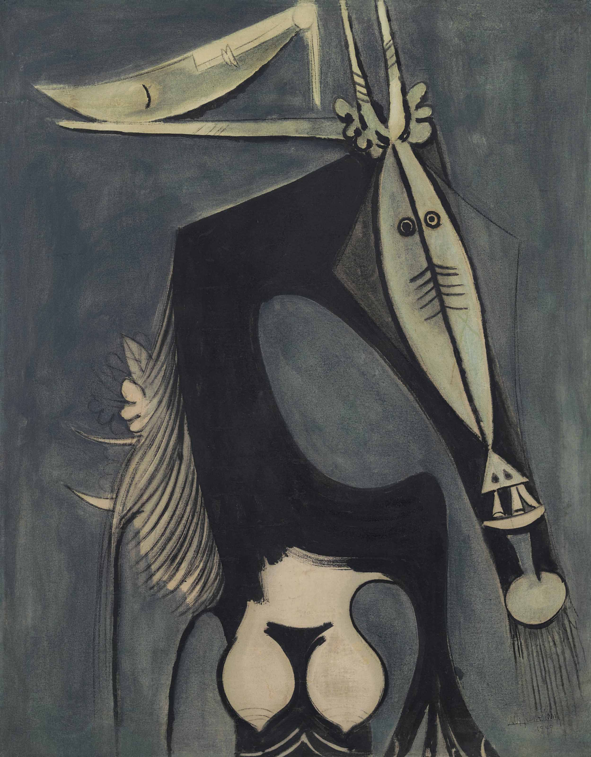 Wifredo Lam (1902-1982), Figure, 1949. 42½ x 33½  in (108 x 85.1  cm). Estimate $1,200,000-1,800,000. Offered in Latin American Art on 23-24 May at Christie's in New York