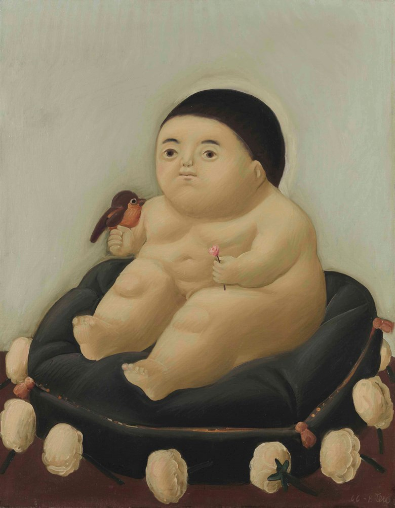 Fernando Botero (b. 1932), El niño Jesús, painted in 1966. 39⅜ x 30⅜  in (100 x 77  cm). Estimate $250,000-350,000. This lot is offered in Latin American Art on 23-24 May at Christie's in New York
