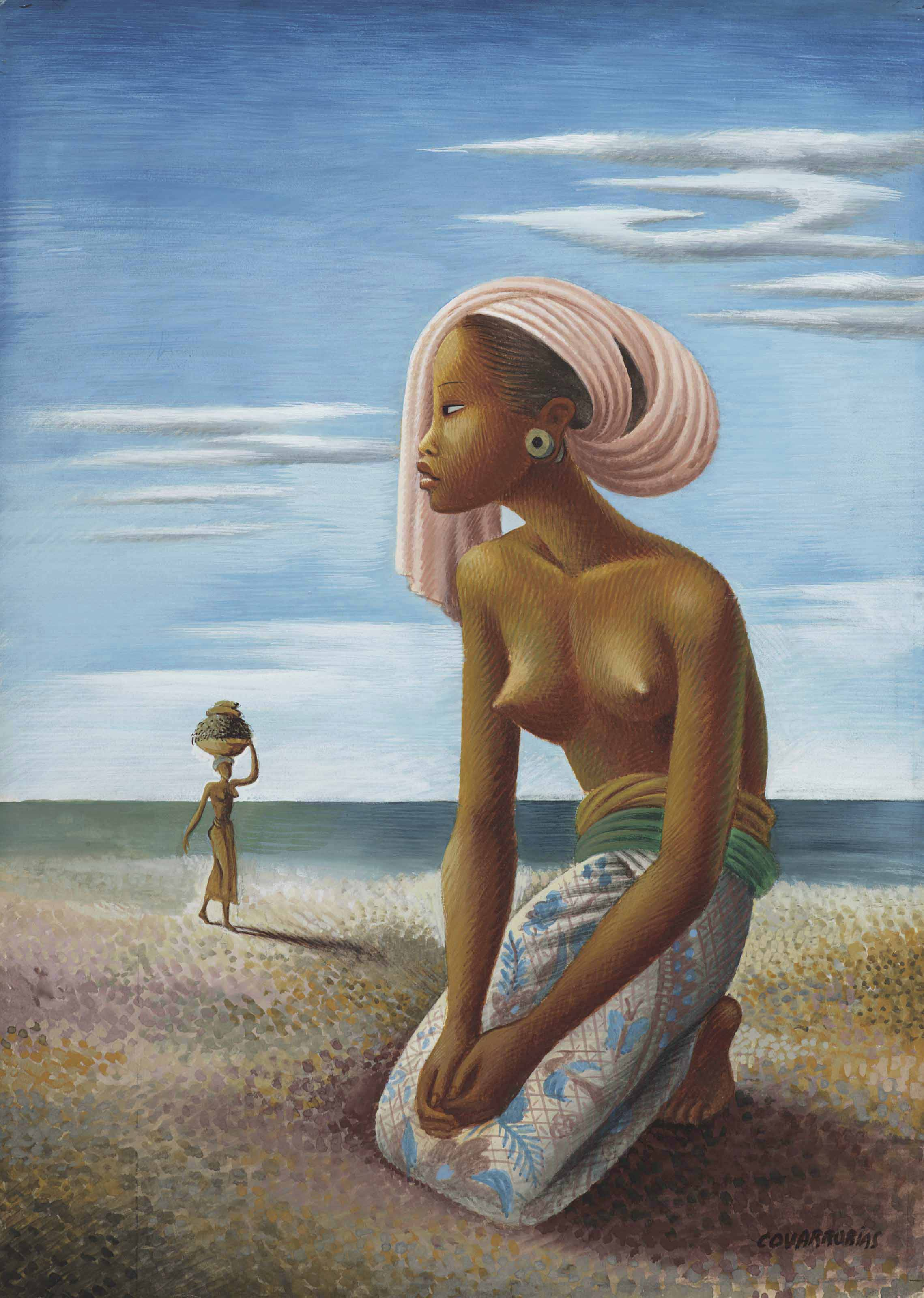 Girl Wearing a Sarong by the Ocean (also known as Balinesa con turbante rosa en la playa)