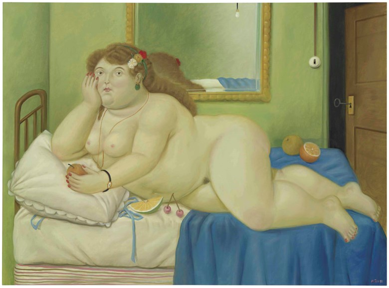 Fernando Botero (b. 1932), Aurora, painted in 1993. 55⅞ x 75⅝  in (141.8 x 192.1  cm). Estimate $800,000-1,200,000. This lot is offered in Latin American Art on 23-24 May at Christie's in New York