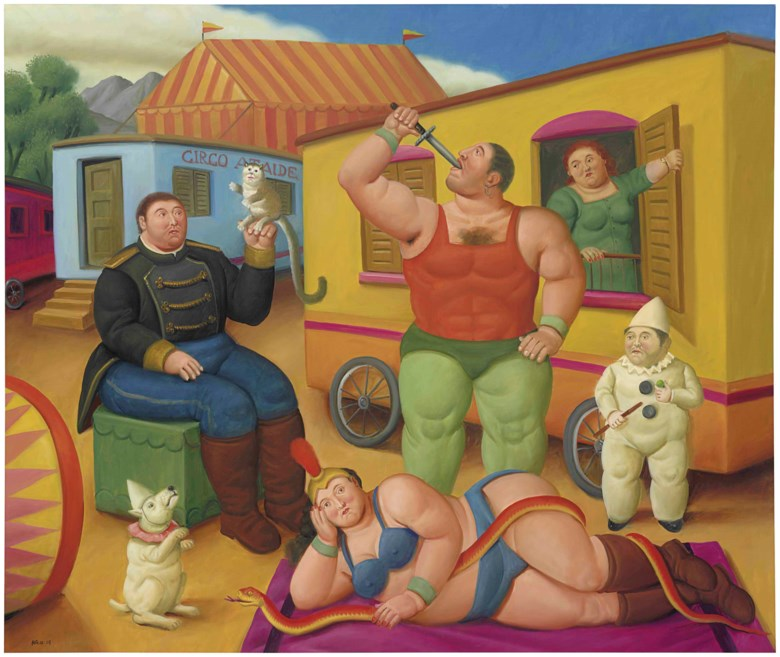Fernando Botero (b. 1932), Circus People, painted in 2007. 63½ x 75⅛  in (161.3 x 190.8  cm). Estimate $1,500,000-2,500,000. This lot is offered in Latin American Art on 23-24 May at Christie's in New York