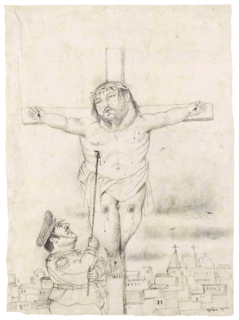 Fernando Botero (b. 1932), Crucifixion, executed in 1991. 21⅝ x 15¾  in (55 x 40  cm). Estimate $25,000-30,000. This lot is offered in Latin American Art on 23-24 May at Christie's in New York