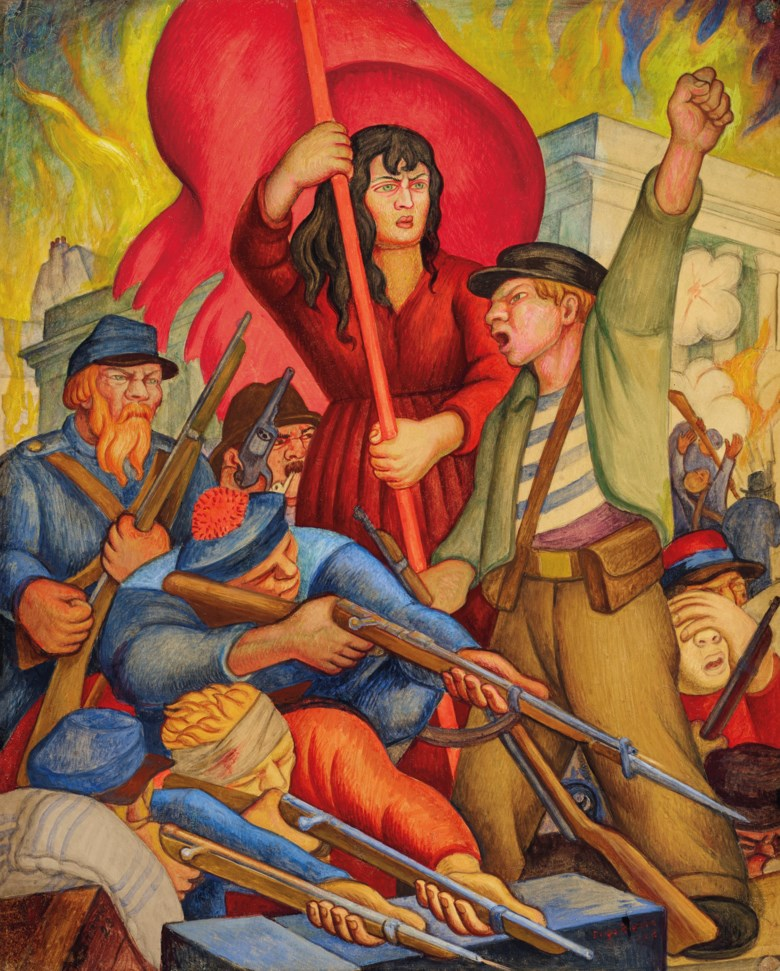 Diego Rivera (1886-1957), Communards (Comuna de Paris), executed in 1928. 19⅜ x 15½  in (49.2 x 39.4  cm). Sold for $492,500 on 20-21 November 2018 at Christie's in New York