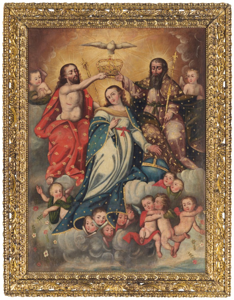 Anonymous (Cuzco School, 18th century), Coronación de la Virgen por la Santísima Trinidad. Oil on canvas. 62½ x 46  in (158.8 x 116.8  cm). Sold for $60,000 on 20-21 November 2018 at Christie's in New York
