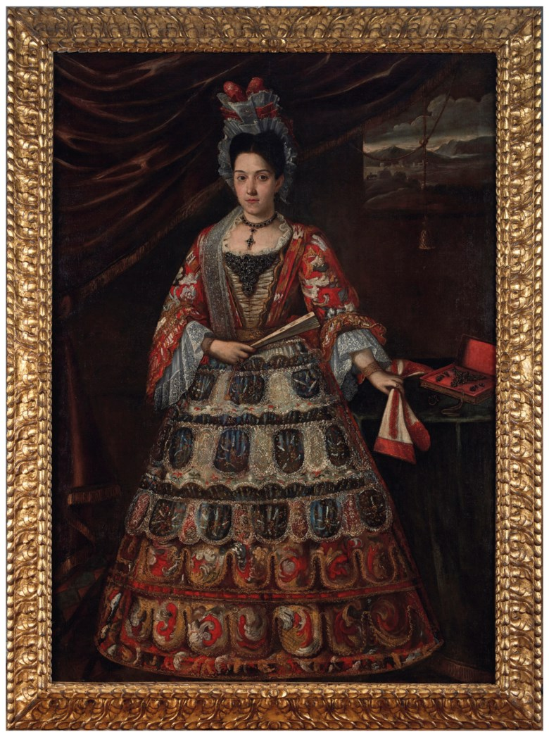 Anonymous (Peruvian, mid-18th century), Portrait of a Peruvian Lady with Fan. Oil on canvas. 78¾ x 55⅞  in (200 x 142  cm). Sold for $162,500 on 20-21 November 2018 at Christie's in New York