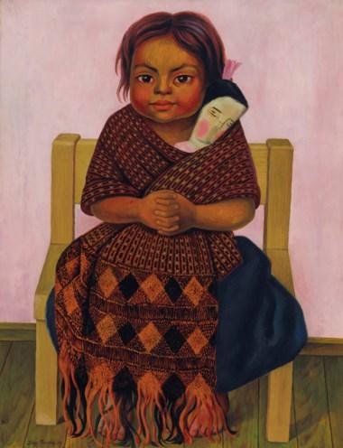 Diego Rivera (1886-1957), Niña con muñeca de trapo, painted in 1939. 32⅛ x 24¾  in (81.6 x 62.9  cm).