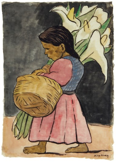 Diego Rivera (1886-1957), Niña con alcatraces (also known as Alcatraces), executed circa 1936. 15⅛ x 11  in (38.4 x 27.9  cm). Sold for $100,000 on 20-21 November 2018 at Christie's in New York
