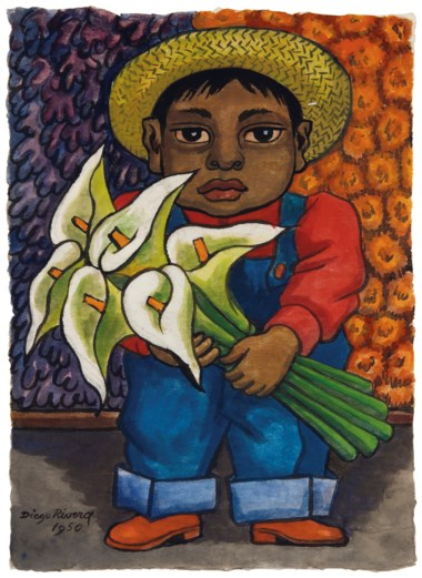 Diego Rivera (1886-1957), Niño con alcatraces, executed in 1950. 15⅛ x 11  in (38.4 x 27.9  cm). Sold for $118,750 on 20-21 November 2018 at Christie's in New York