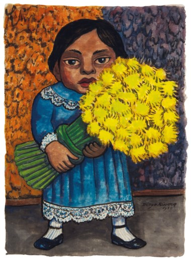 Diego Rivera (1886-1957), Niña con flores amarillas, executed in 1950. 15 ¼ x 11  in (38.7 x 27.9  cm). Sold for $106,250 on 20-21 November 2018 at Christie's in New York