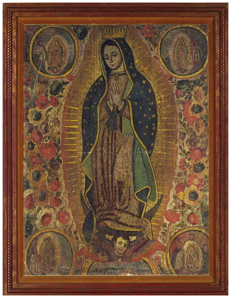 Anonymous (Mexican school, 18th century), Virgen de Guadalupe con apariciones. 41⅜ x 30⅝  in (105 x 77.8  cm). Estimate $30,000-40,000. This lot is offered in Latin American Art on 20-21 November 2018 at Christie's in New York