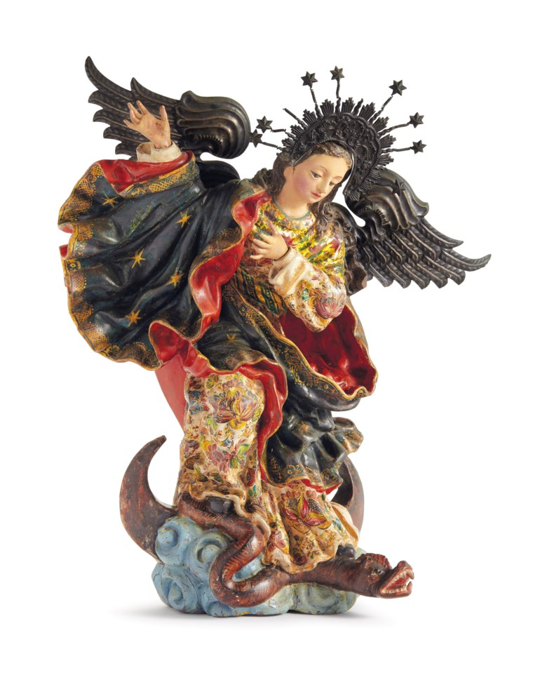 Anonymous (Ecuadorian, 17th century), Virgen de Quito. Painted wood, glass and metal. 13¾ x 12 x 6½ in (34.9 x 30.5 x 16.5  cm). Sold for $50,000 on 20-21 November 2018 at Christie's in New York