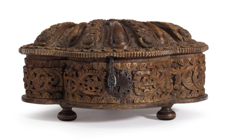 A finely carved box (coquera), Anonymous (South American, 17th century).6½ x 12¼ x 9¾  in (16.5 x 31.1 x 24.8  cm). Estimate $15,000-20,000. This lot is offered in Latin American Art on 20-21 November 2018 at Christie's in New York