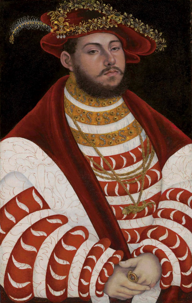 Lucas Cranach I (Kronach 1472-1553 Weimar), Portrait of John Frederick I, Elector of Saxony (1503-1554). Sold for $7,737,500 on 19 April 2018 at Christie's in New York