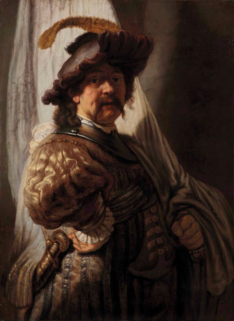 Studio of Rembrandt Harmensz. van Rijn (Leiden 1606-1669 Amsterdam), The Standard Bearer. 38¾ x 28⅜ in (98.2 x 72 cm). Estimate $400,000-600,000. This lot is offered in Old Masters Part I on 19 April at Christie's in New York