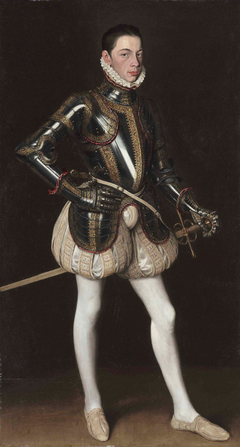 Anthonis Mor (Utrecht 151620-1576 Antwerp) and Alonso Sánchez Coello (Benifairó del Valls, Valencia, 15312-1588 Madrid), Alessandro Farnese in Armor. 68⅞ x 39⅜ in (175 x 100 cm). Estimate $2,500,000-3,500,000. This lot is offered in Old Masters Part I on 19 April at Christie's in New York