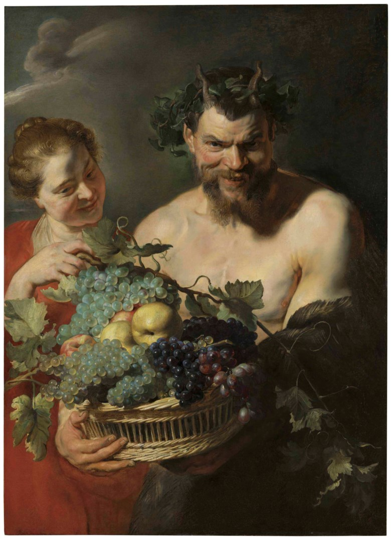 Sir Peter Paul Rubens (Siegen 1577-1640 Antwerp), A Satyr Holding a Basket of Grapes and Quinces with a Nymph. 41¼ x 29⅞  in (104.8 x 75.8  cm). Estimate $5,000,000-7,000,000. This lot is offered in Old Masters Part I on 19 April at Christie's in New York
