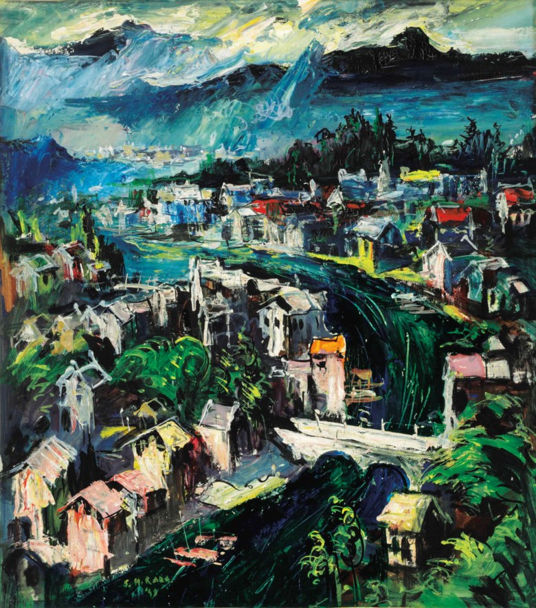 Syed Haider Raza (1922-2016), Srinagar, executed in 1949. 23 x 20½  in (58.4 x 51.4  cm). Estimate $12,000-18,000. This lot is offered in South Asian Modern + Contemporary Art on 21 March 2018  at Christie's in New York