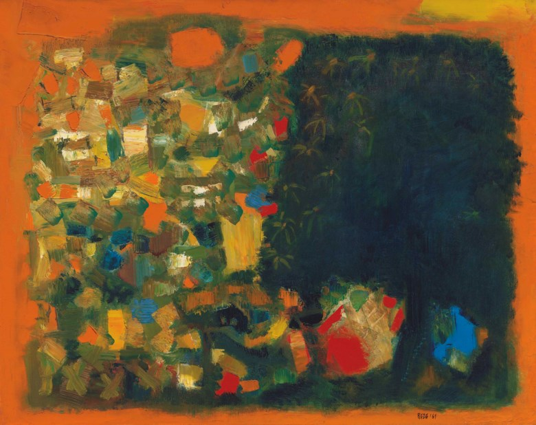 Syed Haider Raza (1922-2016), LArbre du Mal, painted in 1961. 28¾ x 36¼  in (73 x 92.1  cm). Estimate $150,000-200,000. This lot is offered in South Asian Modern + Contemporary Art on 21 March 2018  at Christie's in New York