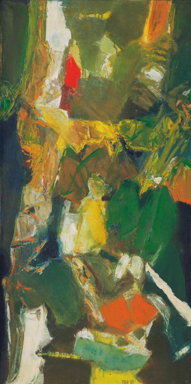 Syed Haider Raza (1922-2016), Untitled, painted in 1965. 39⅛ x 19½  in (99.5 x 49.6  cm). Estimate $60,000-80,000. This lot is offered in South Asian Modern + Contemporary Art on 21 March 2018  at Christie's in New York