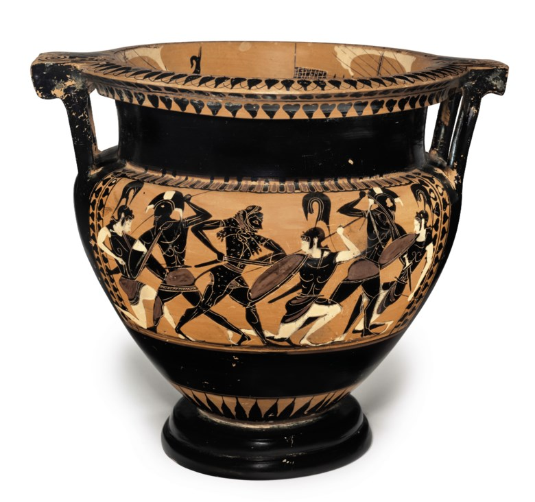 An Attic black-figured column-krater, attributed to the Euphiletos Painter, circa 530-520 BC. 12½  in (31.7  cm) high. Sold for $137,500 on 18 April 2018 at Christie's in New York