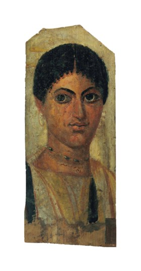 AN EGYPTIAN PAINTED WOOD MUMMY PORTRAIT OF A WOMAN