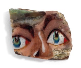 AN EGYPTIAN MOSAIC GLASS FACE INLAY