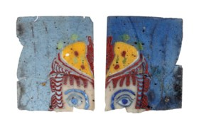 TWO FRAGMENTARY EGYPTIAN MOSAIC GLASS THEATER MASKS INLAYS