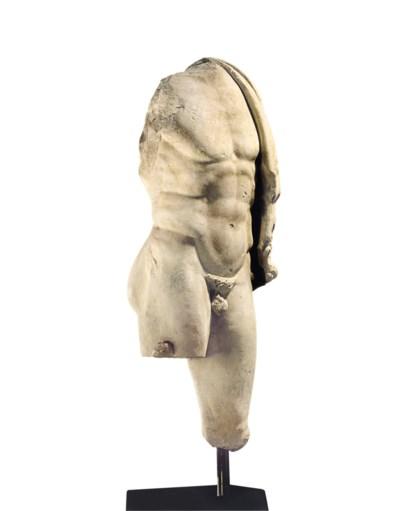 A ROMAN MARBLE TORSO OF HERCUL