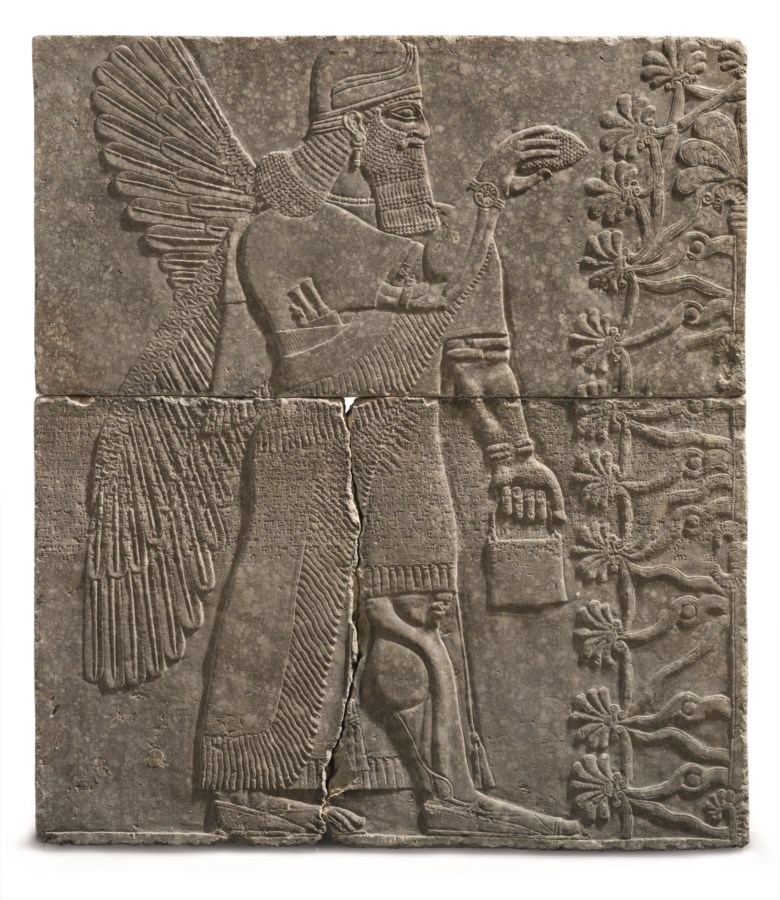 An Assyrian gypsum relief of a Winged Genius, Reign of Ashurnasirpal II, circa 883-859 BC. Sold for $30,968,750 on 31 October 2018 at Christie's in New York
