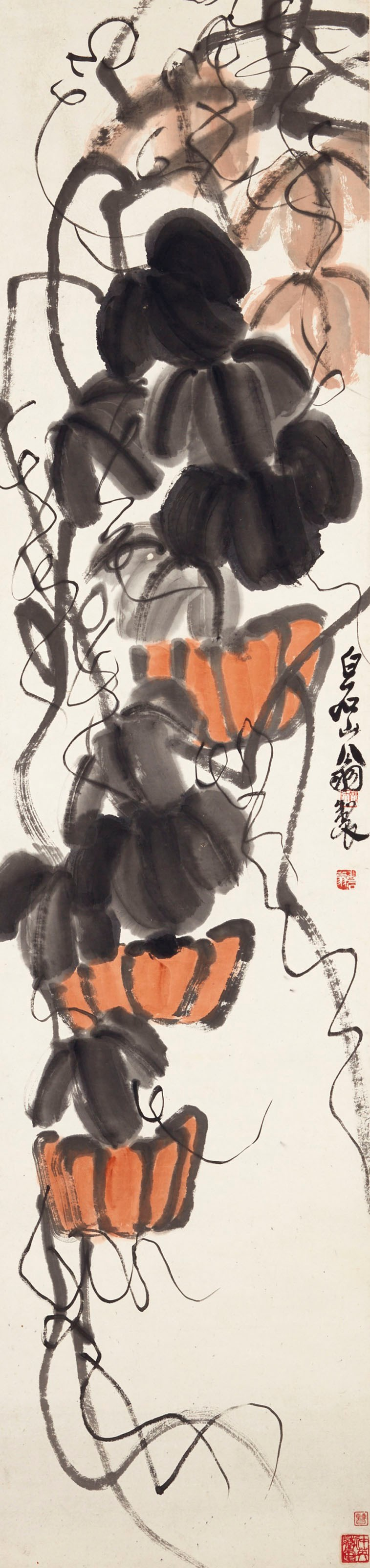 Qi Baishi (1863-1957), Pumpkins. 53⅛ x 13⅛  in (134.9 x 33.3  cm). Estimate $60,000-100,000. Offered in Fine Chinese Paintings on 11 September 2018 at Christie's in New York