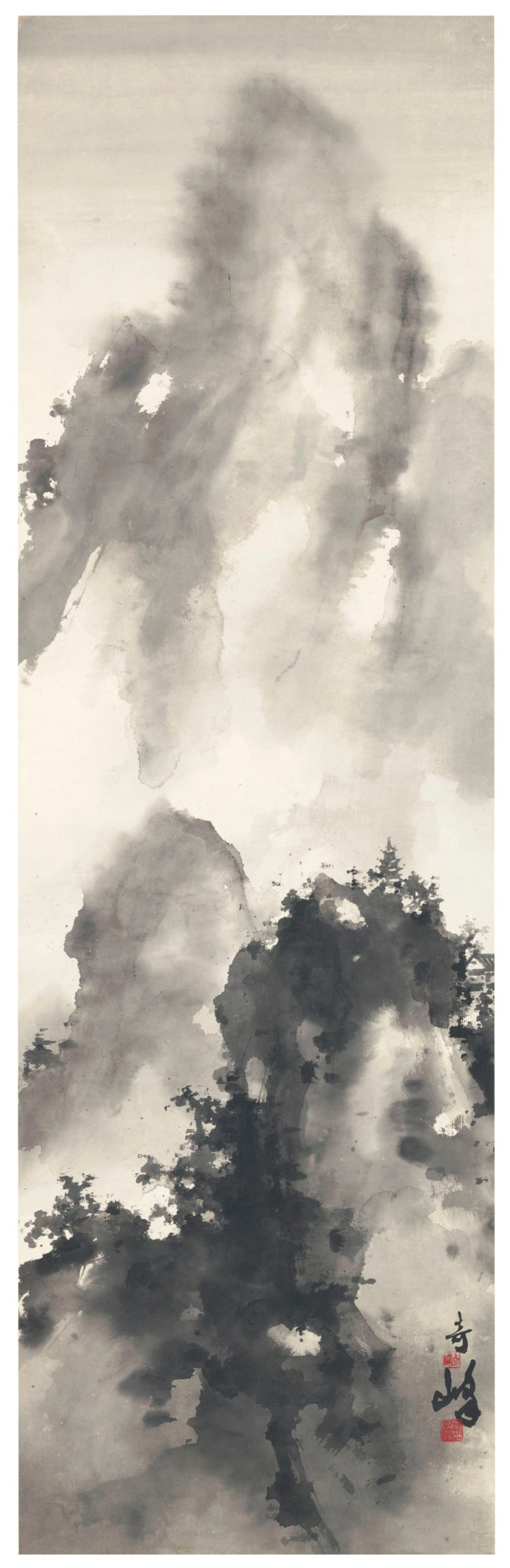 Gao Qifeng (1889-1933), Misty Peaks. 51½ x 13½  in (137.8 x 34.3  cm). Estimate $20,000-30,000. Offered in Fine Chinese Paintings on 11 September 2018 at Christie's in New York