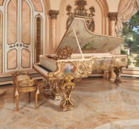 A FINE GILTWOOD AND POLYCHROME-PAINTED CONCERT GRAND PIANO