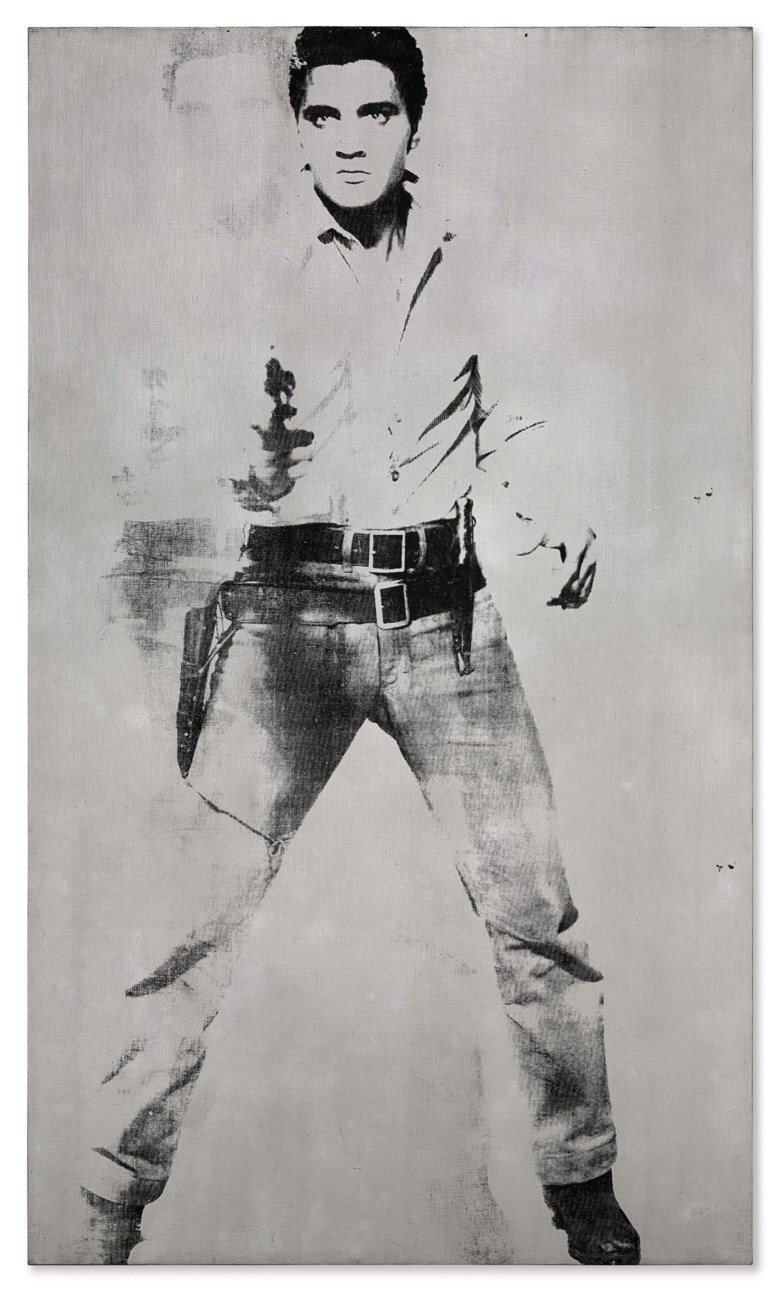 Andy Warhol (1928-1987), Double Elvis [FerusType], 1963. Silkscreen ink and spray paint on linen. 81¾ x 48 in (207.6 x 121.9 cm). Sold for $37,000,000 in the Post-War and Contemporary Art Evening Sale on 17 May at Christie's in New York. Artwork © 2018 The Andy Warhol Foundation for the Visual Arts, Inc.  Licensed by Artists Rights Society (ARS)