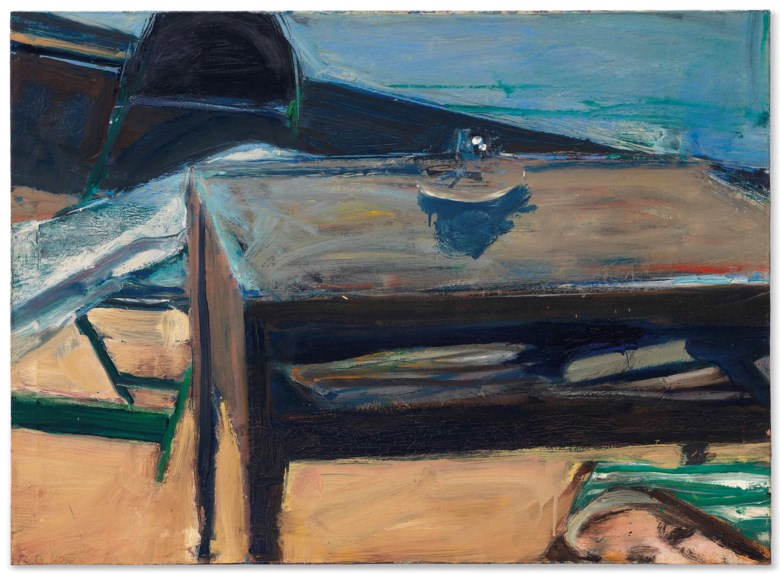 Richard Diebenkorn (1922-1993), Table and Folding Chair, 1962. 28⅜ x 39  in (72 x 99  cm). Estimate $900,000-1,200,000. Offered in Post-War and Contemporary Art Evening Sale on 17 May at Christie's in New York