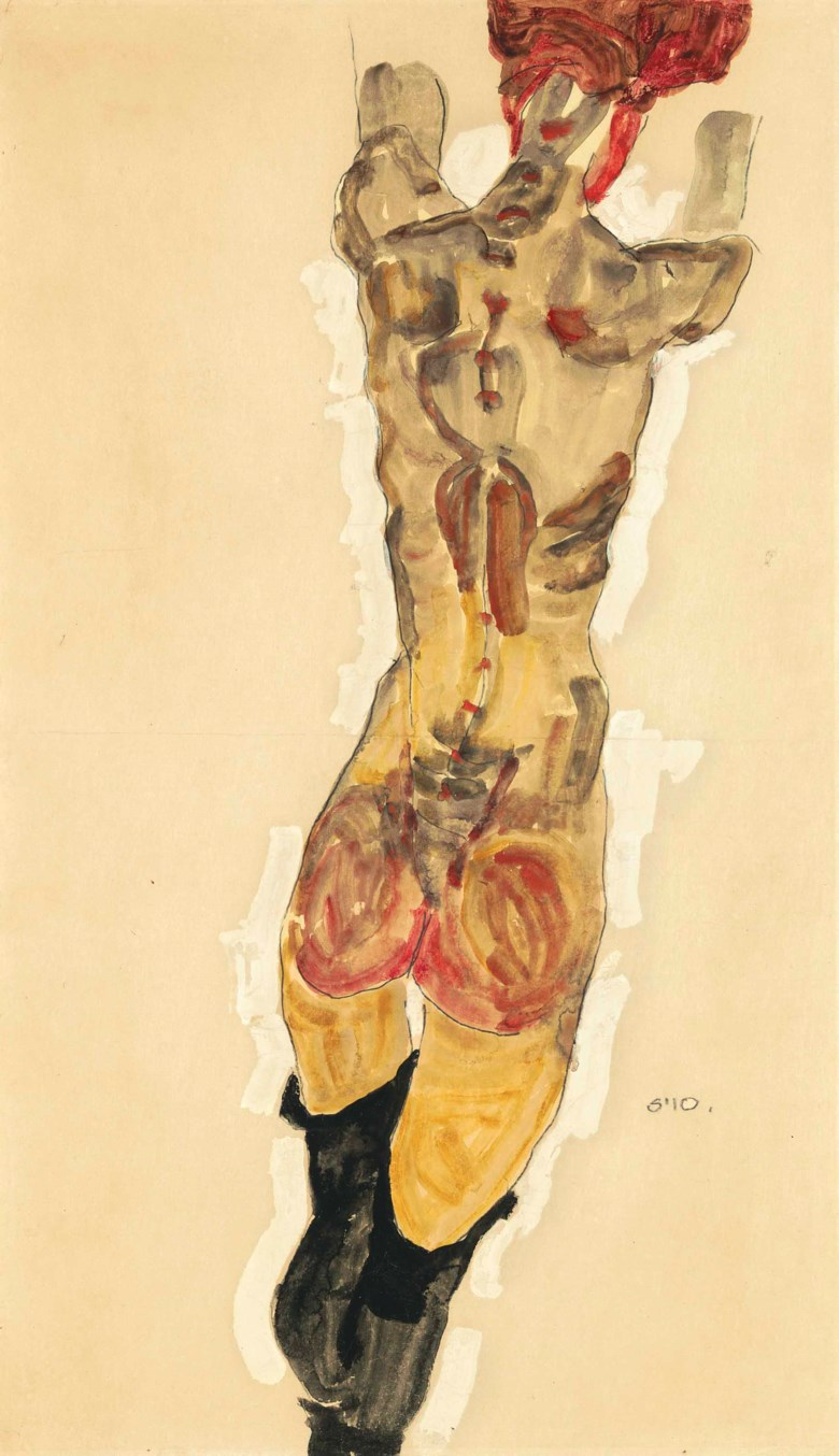 Egon Schiele (1890-1918), Stehender Rückenakt, executed in 1910. 22⅛ x 13  in (56.1 x 33.1  cm). Sold for $3,612,500 on 15 May at Christie's in New York