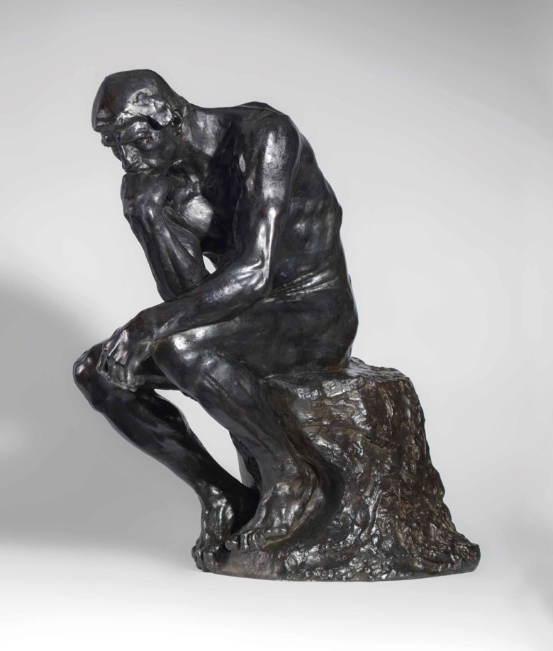 Auguste Rodin (1840-1917), Le Penseur, conceived in 1880 and cast in December 1924. Bronze with black and brown patina. Height 27⅞ in (70.9 cm). Sold for $8,187,500 on 15 May 2018 at Christie's in New York