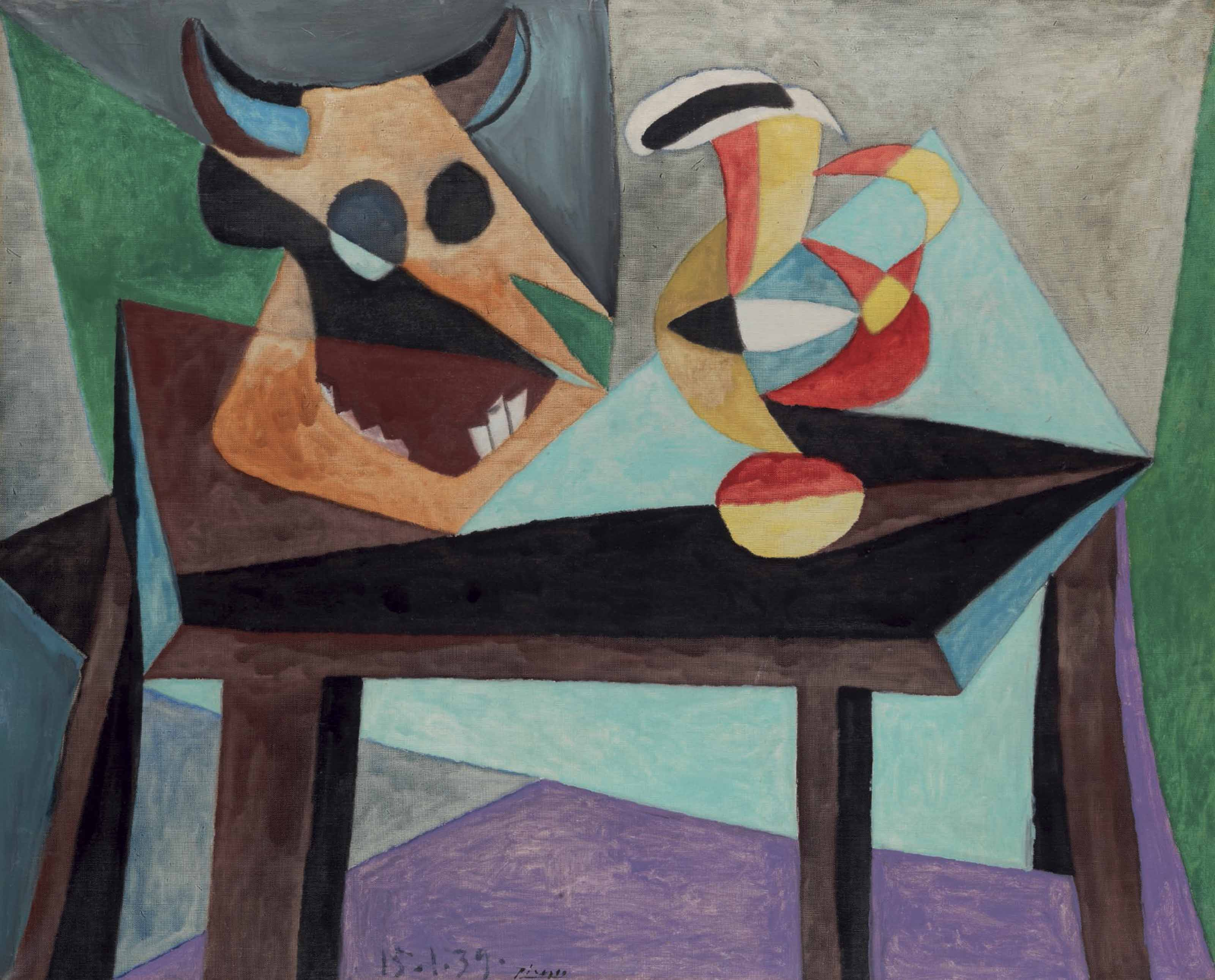 pablo picasso 1881 1973 nature morte t te de taureau christie 39 s. Black Bedroom Furniture Sets. Home Design Ideas