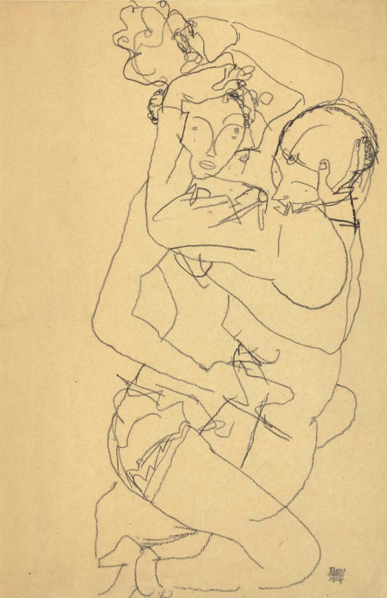 Egon Schiele (1890-1918), Paar im Umarmung, drawn in 1914. 19½ x 12⅞  in (49.7 x 32.6  cm). Sold for $312,500 on 16 May at Christie's in New York