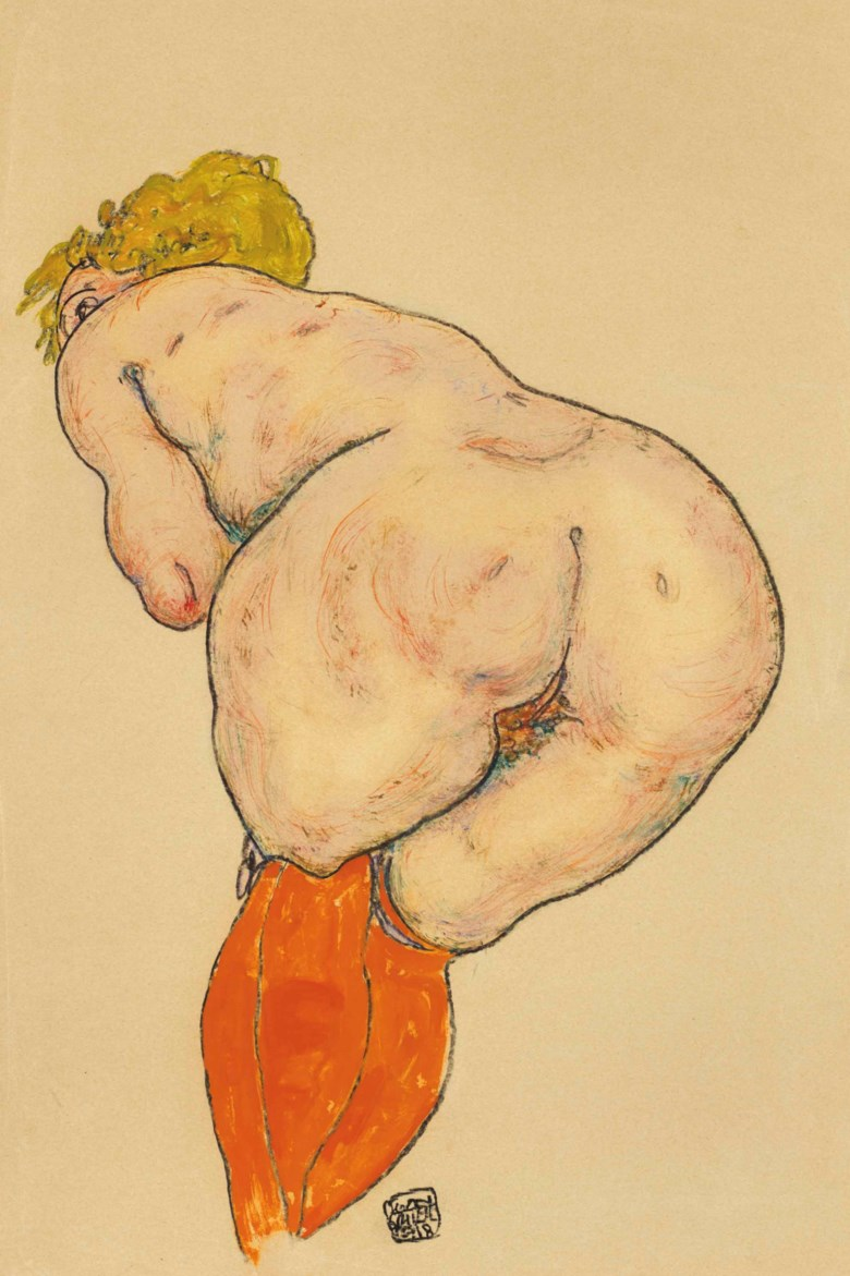 Egon Schiele (1890-1918), Rückenakt mit orangefarbenen Strümpfen, drawn in 1918. 18¼ x 11⅝  in (46.1 x 29.5  cm). Sold for $373,500 on 16 May at Christie's in New York