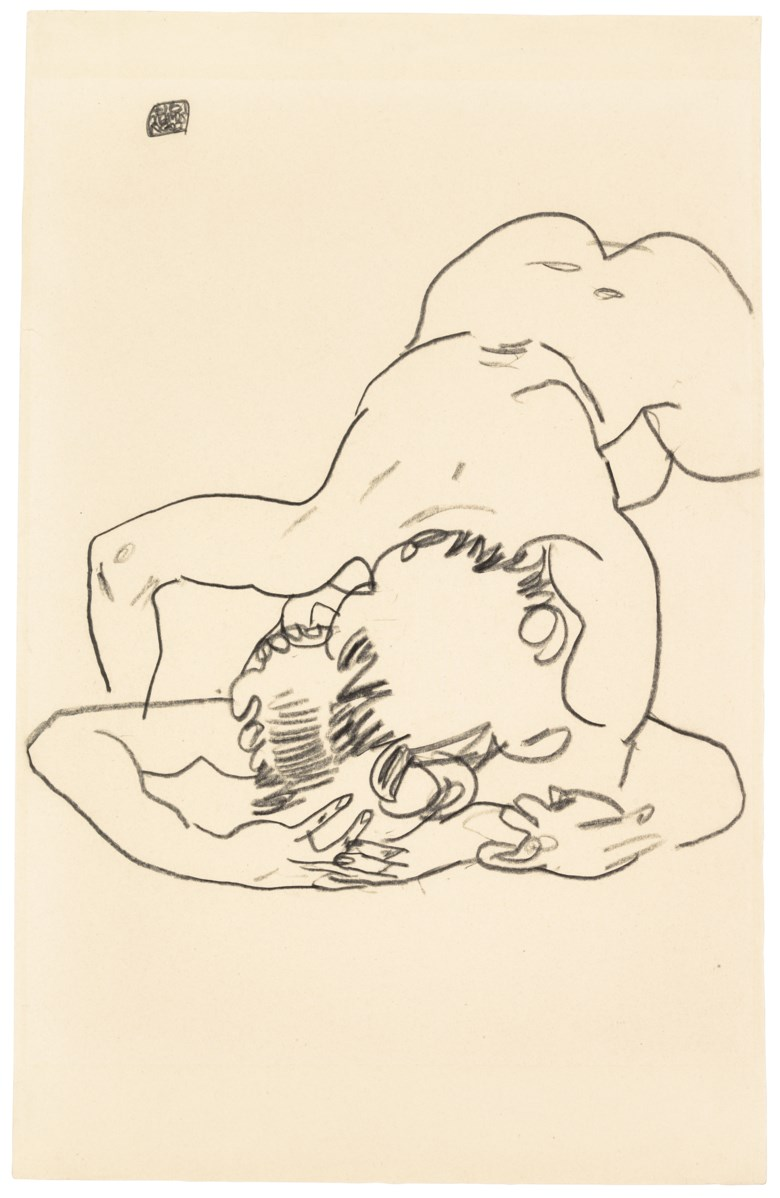 Property from an Important New York Estate. Egon Schiele (1890-1918), Zwei ineinander verschlungene Figuren, drawn in 1917. 18⅛ x 11 ½  in (46 x 29.4  cm). Estimate $200,000-300,000. Offered in Impressionist and Modern Art Works on Paper on 16 May at Christie's in New York