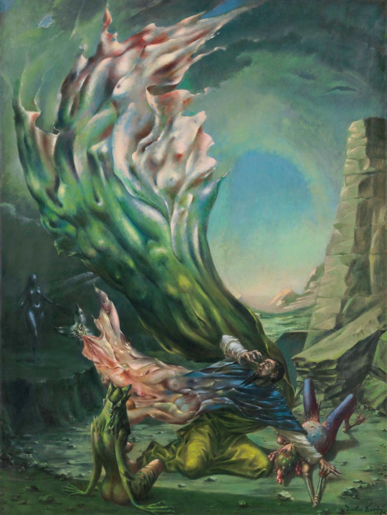 Dorothea Tanning (1910-2012), The Temptation of St. Anthony, painted in 1945-1946. 47⅞ x 35⅞  in (121.4 x 91.2  cm). Estimate $400,000-600,000. Offered in Impressionist and Modern Art Day Sale on 16 May at Christie's in New York