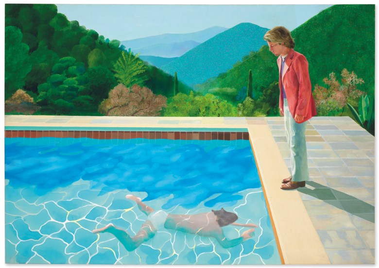 Property from a Distinguished Private Collector. David Hockney (b. 1937), Portrait of an Artist (Pool with Two Figures), painted in 1972. Acrylic on canvas. 84 x 120 in (213.5 x 305 cm). Sold for $90,312,500 on 15 November 2018 at Christie's in New York