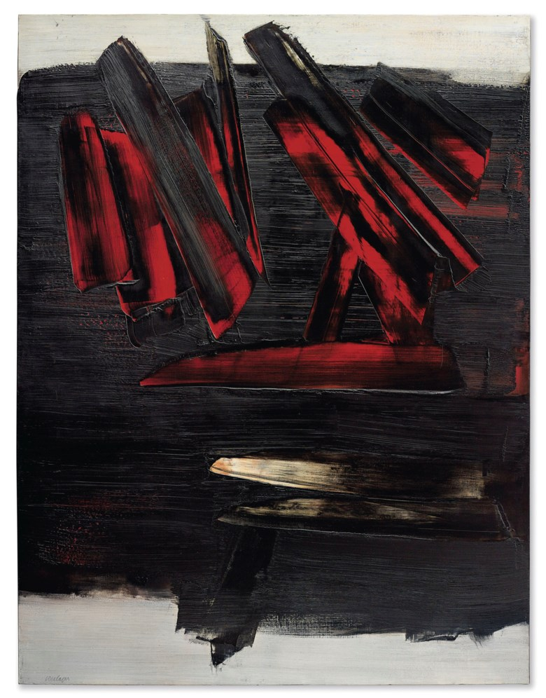 Pierre Soulages (b. 1919), Peinture 186 x 143 cm, 23 décembre 1959, painted on 23 December 1959. 73¼ x 56¼ in (186 x 143 cm). Sold for $10,600,000 on 15 November 2018 at Christie's in New York. © Pierre Soulages, DACS 2019