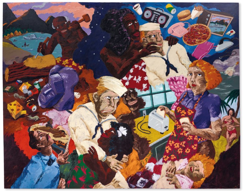 Robert Colescott (1925-2009), Cultural Exchange, painted in 1987. 91 x 115  in (231 x 292  cm). Sold for $912,500 on 15 November 2018 at Christie's in New York