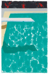 Green Pool with Diving Board and Shadow (Paper Pool 3)